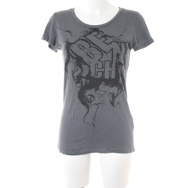 Bench T-Shirt graublau-schwarz Motivdruck Casual-Look
