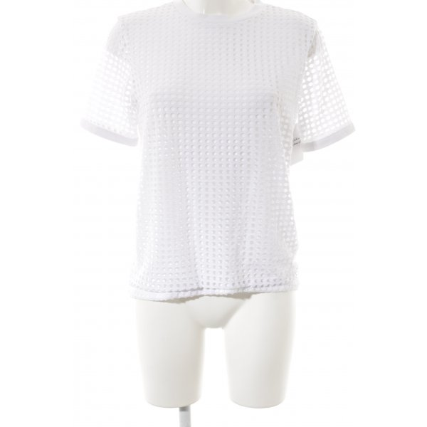 Bench T-Shirt weiß Lochstrickmuster Casual-Look