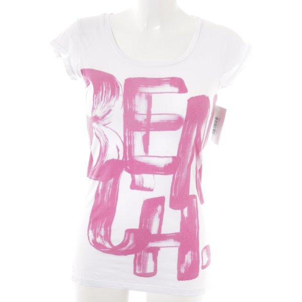 Bench T-Shirt weiß-magenta Maltechnik-Muster Casual-Look