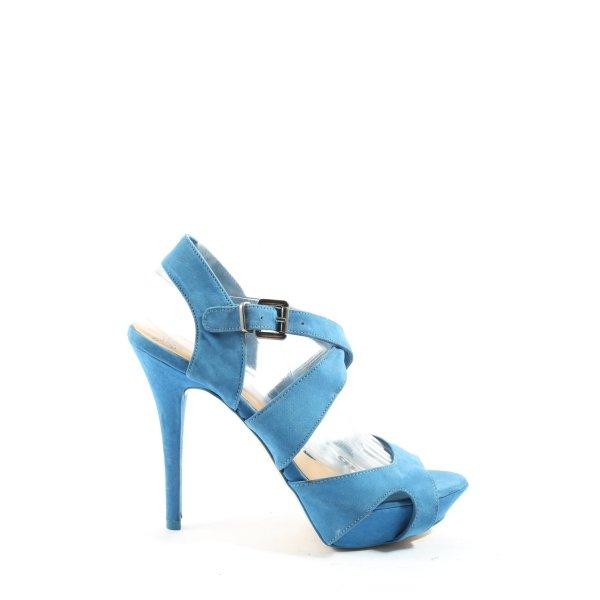 Bershka High Heel Sandaletten blau extravaganter Stil