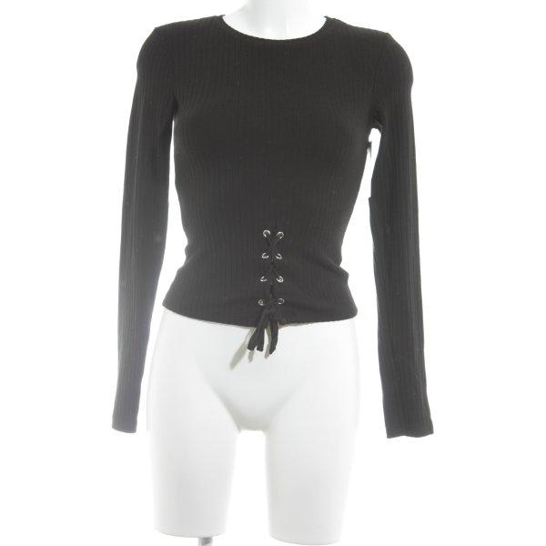 Bershka Rippshirt schwarz Casual-Look