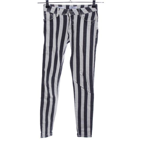 Bershka Skinny Jeans blau-weiß Streifenmuster Casual-Look