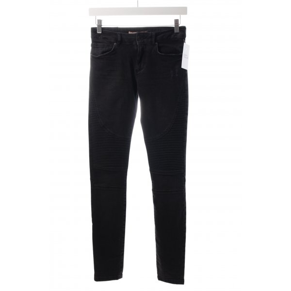 Bershka Slim Jeans schwarz Biker-Look