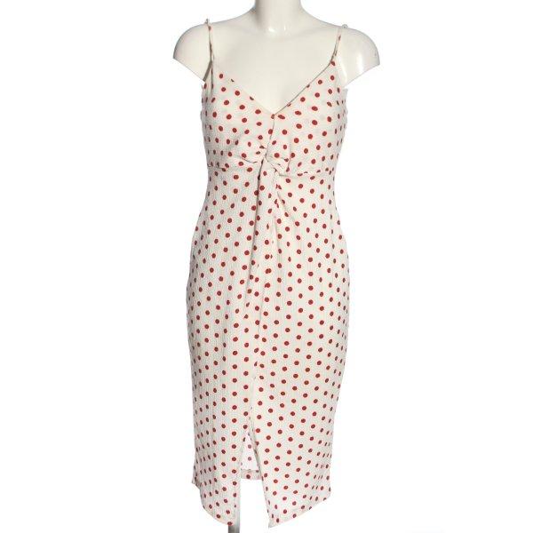 Bershka Trägerkleid weiß-rot Allover-Druck Casual-Look