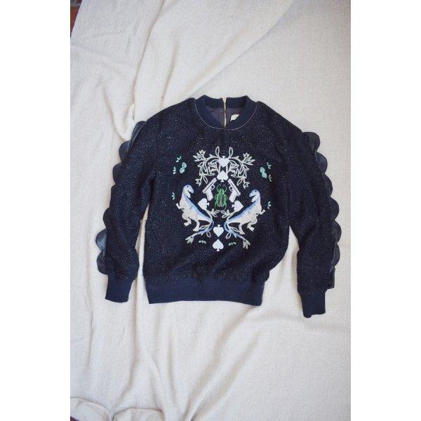 Bestickter Pullover von Three Floor in dunkelblau metallic