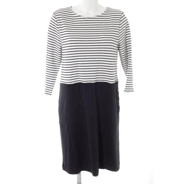 Betty & Co Vestido tejido blanco puro-azul oscuro estampado a rayas
