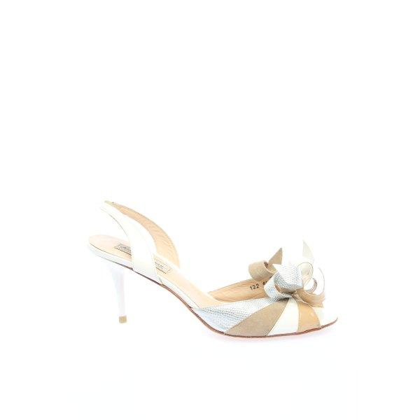Beverly Feldman Riemchen-Sandaletten wollweiß-creme Animalmuster Elegant