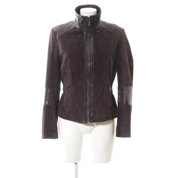 Biba Leather Jacket brown violet casual look
