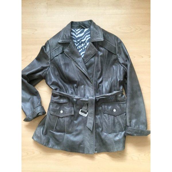 Biba Leather Jacket dark grey leather