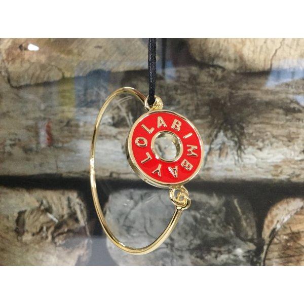 BIMBA Y LOLA Damen Armband Armkette Gold Metall Rot Hellrot Kreis Rund NEU NEU