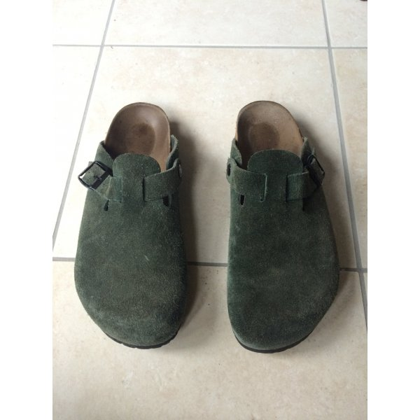 Birkenstock Mules dark green suede