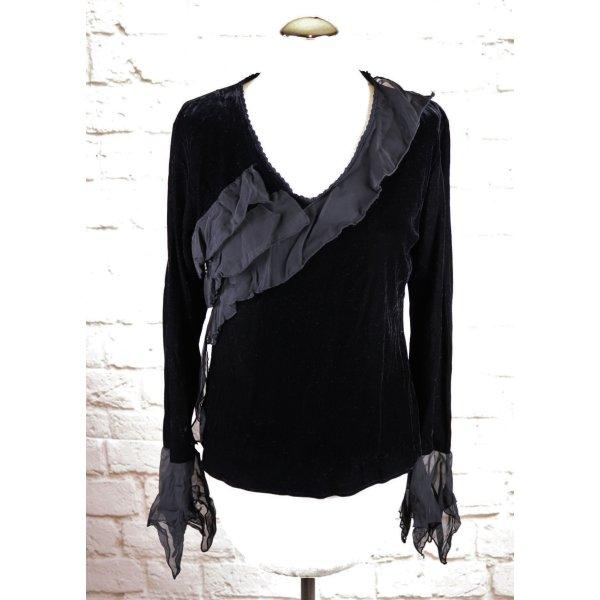 Black V-Neck Samt Stretch Shirt Oviesse Größe L 40 42 Schwarz Rüschen Volants Zipfel Ärmel Gothic Pullover