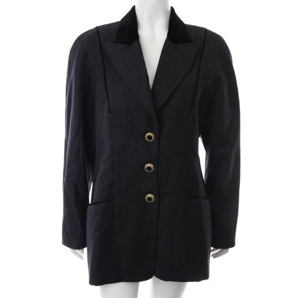Blacky Dress Woll-Blazer dunkelgrau-schwarz Bortenbesatz