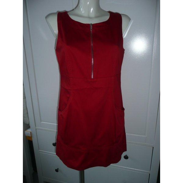 Blanco Kleid Minikleid vorne mit Reißverschluss & Taschen Rot Kirschrot Gr 36-38