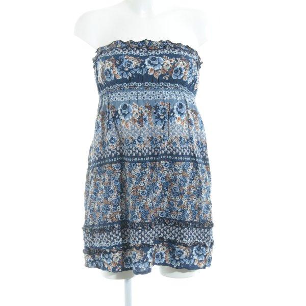 Blanco schulterfreies Kleid abstraktes Muster Beach-Look