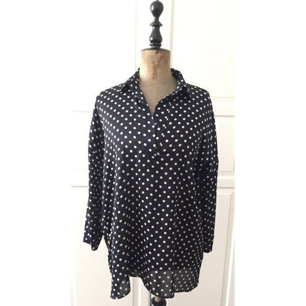 Blaue glänzende weiß gepunktete Bluse/ Hemd