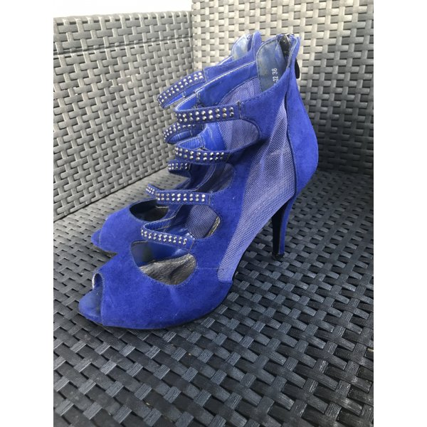 Strapped High-Heeled Sandals blue