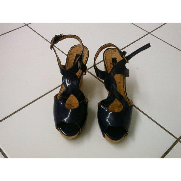 Zara Wedge Sandals dark blue leather