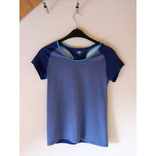 Blaues Sport-Shirt mit Rückenausschnitt