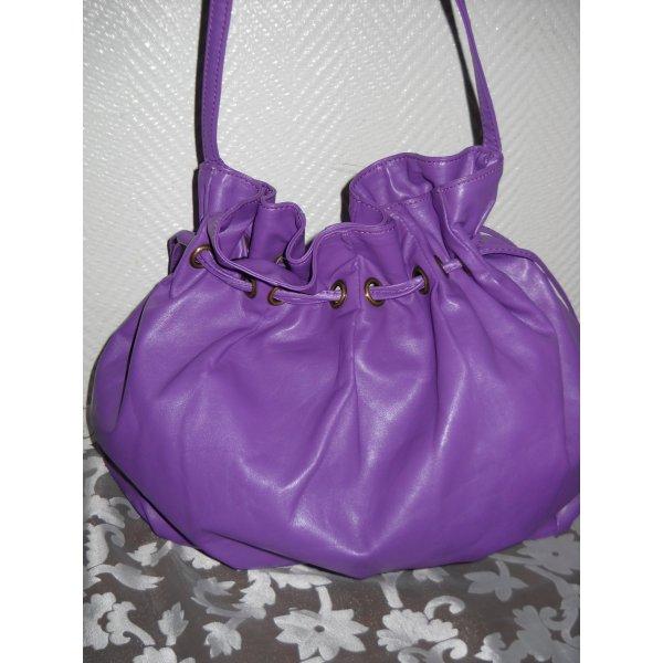 Blogger Pieces Beuteltasche Henkel Schulter Tasche Shopper Bag lila violett neuw Zugband Leder Imitat