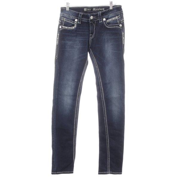 Blue Monkey Slim Jeans dunkelblau-hellgrau Casual-Look