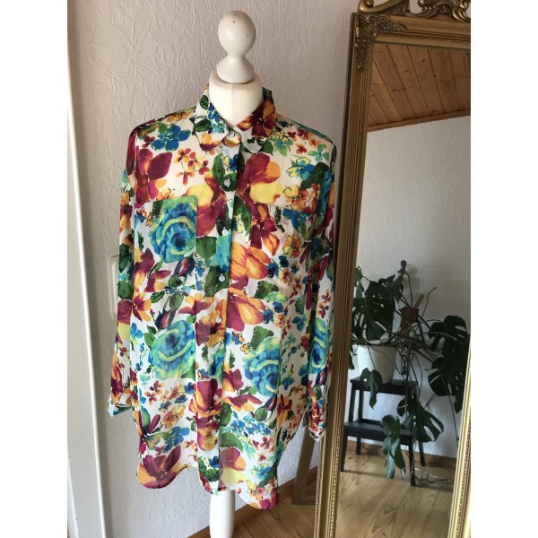 Bluse American Apparel mit buntem Blumenmuster One Size