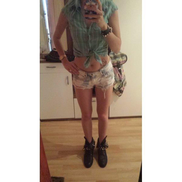 Bluse Mint Pastell Kurzarm Pink Silber Glitzer Sommer Trend Blogger Grunge