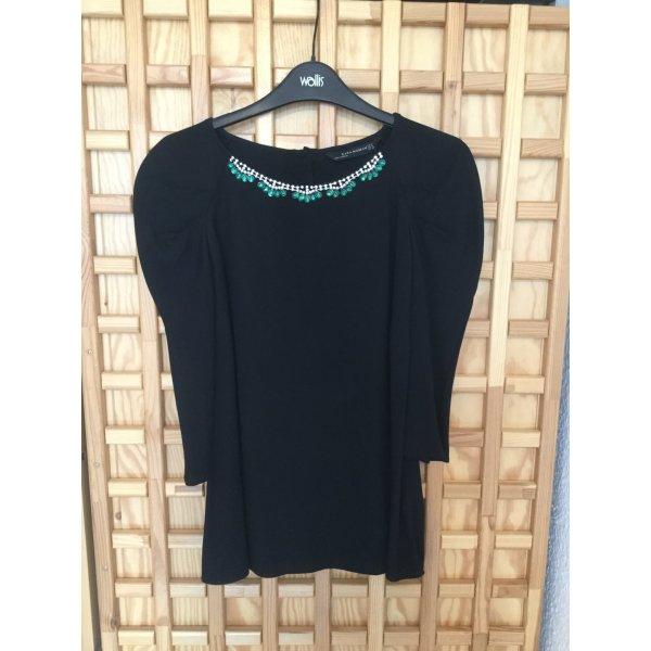 Zara Blouse brillante noir viscose