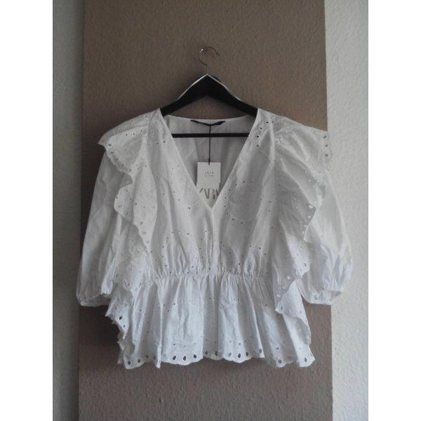 Bluse mit Volants und Lochstickerei aus 100% Baumwolle, Größe M, neu
