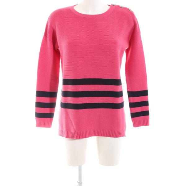 Boden Rundhalspullover pink-schwarz Streifenmuster Casual-Look