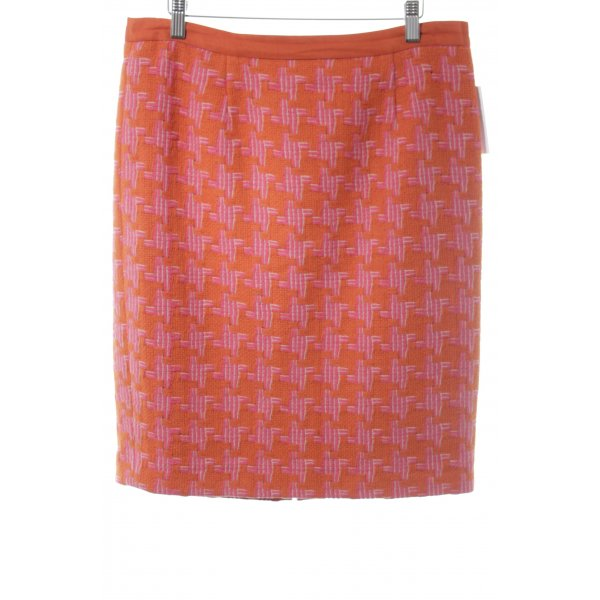 Boden Jupe tricotée orange-magenta motif graphique style décontracté