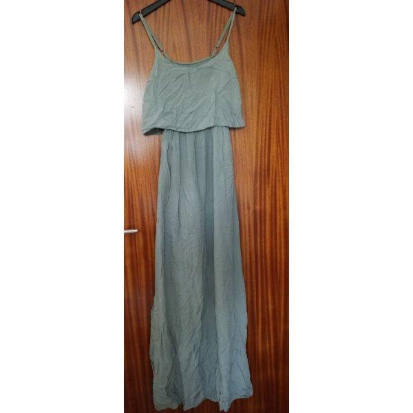 bodenlanges graugrünes Kleid mit knielangem Unterkleid NEU, ungetragen