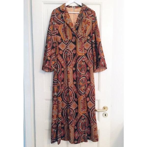 Bohokleid Seventies-Kleid 70er Maxikleid VINTAGE Blusenkleid Print