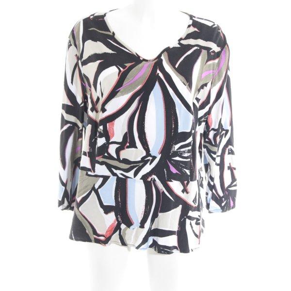 Bonita Schlupf-Bluse schwarz-khaki abstraktes Muster Casual-Look
