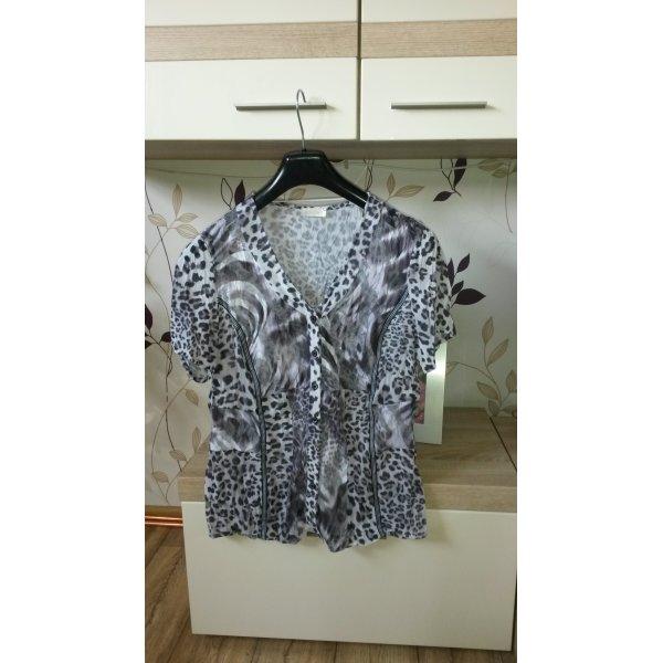 Bonita transparente Kurzarmbluse grau-weißer Animalprint Größe 40