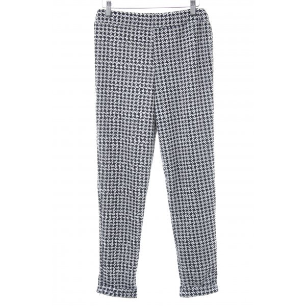 Boohoo Stretchhose schwarz-weiß abstraktes Muster Casual-Look