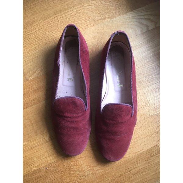 Bordeaux rote Pretty Ballerinas aus Wildleder