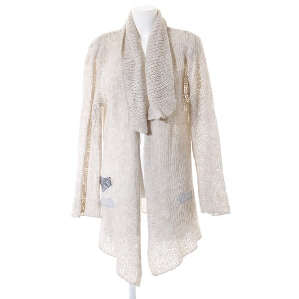 Bottega Strickjacke beige Lochstrickmuster Casual-Look