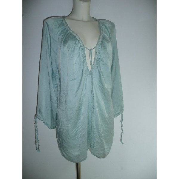 BRAEZ Tunika Bluse Seide pastell mint grün Gr L Boho Hippie Festival Style