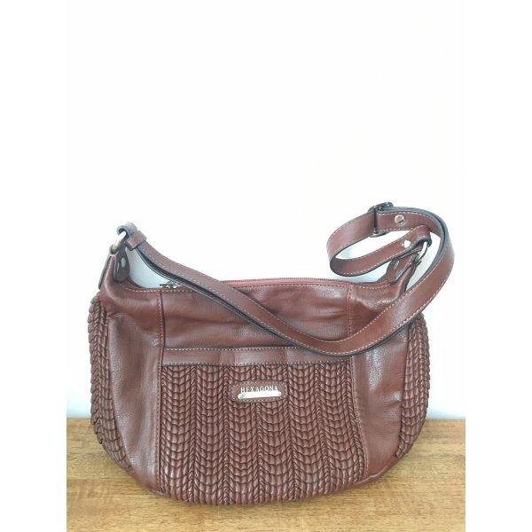 Braune Leder Handtasche hexagona