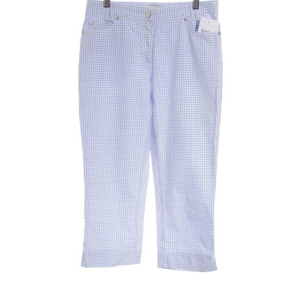 Brax 3/4-Hose weiß-himmelblau Karomuster Street-Fashion-Look