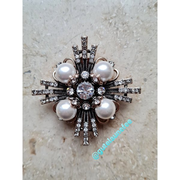Brosche antiksilberfarben Blume Kreuz Perlen Zirkonia vintage