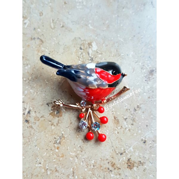 """Brosche handbemalt Vogel """"Blutfink"""" rot schwarz Winter Weihnachten"""