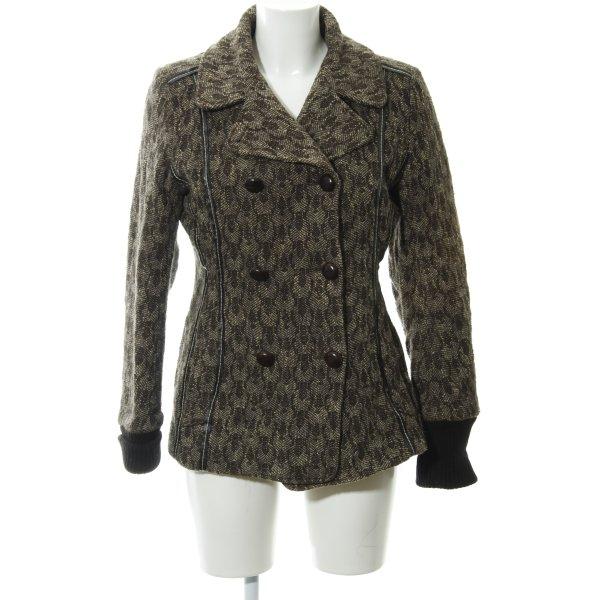 Bruuns bazaar Woll-Blazer abstraktes Muster Lederelemente