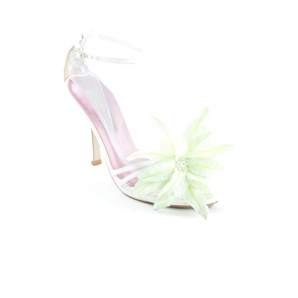 Buffalo London Riemchen-Sandaletten weiß-hellgrün Romantik-Look
