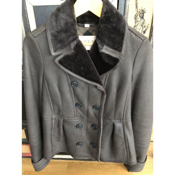 Burberry Leather Jacket dark grey