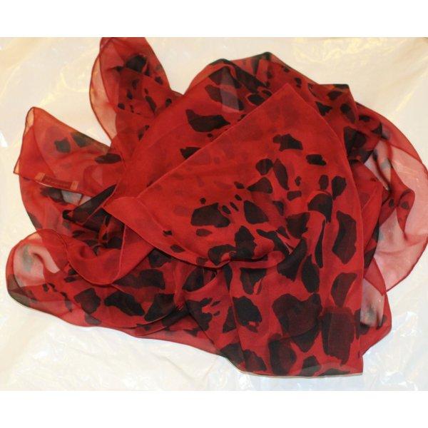 BURBERRY Leo SCHAL rot schwarz 100% Seide