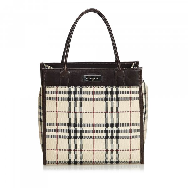 Burberry Plaid Coated Canvas Handbag