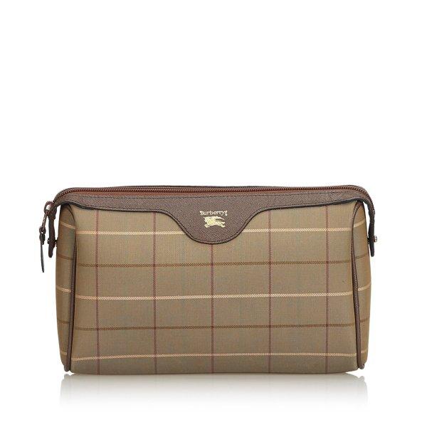 Burberry Plaid Jacquard Clutch Bag