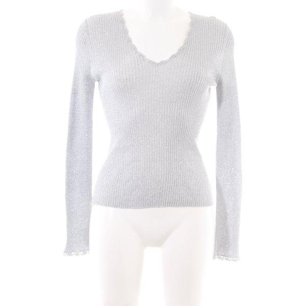 caché V-Ausschnitt-Shirt hellgrau Streifenmuster Business-Look